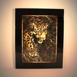 Панно Леопард мозаика из янтаря