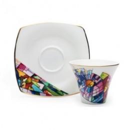 Чайная пара по мотивам картины А.Лентулова «Астры»