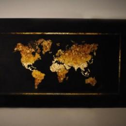 Панно Карта мира мозаика из янтаря