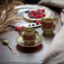 Набор чашка с блюдцем Песнь Илуватара  (серебро, витражная эмаль)