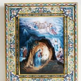 Икона Рождество Христово (эмаль, драгоценные камни)