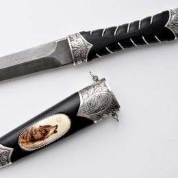 Нож со всечкой Волк (серебро)