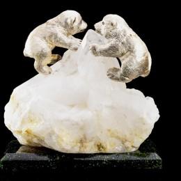 Мишки на севере (хрусталь, серебро) h=30 см