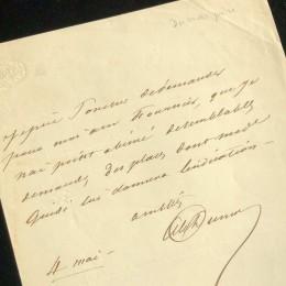2 рукописных письма Дюма-отец и Дюма-сын