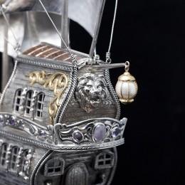 Корабль Белая жемчужина (наутилус, серебро, h=65 см)