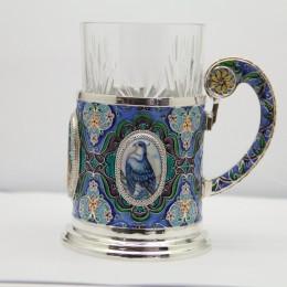 Подстаканник Голуби (эмаль, серебро)