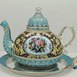 Чайник Царицино с тарелкой (серебро, эмаль)