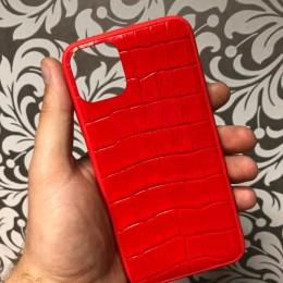Чехол на iPhone 12 Pro из красного крокодила