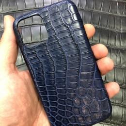Чехол на айфон 12 Pro Max из синего крокодила