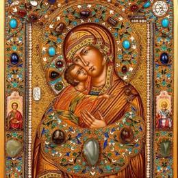 Икона Владимирская Богоматерь (серебро, крупные камни, эмаль)