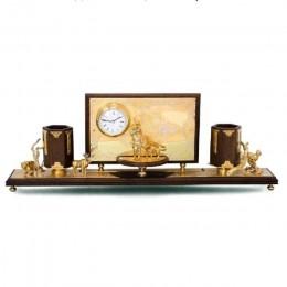 Письменный набор с часами Охота
