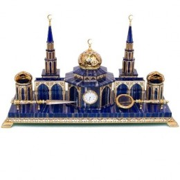 Настольный набор с мечетью (лазурит, сталь)