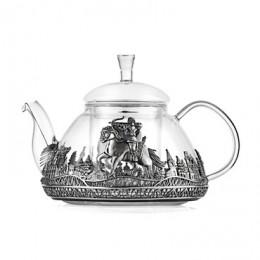 Чайник Богатыры (стекло, серебро)
