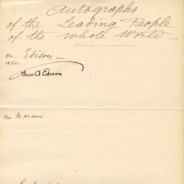 Автограф Томас Эдисона (на письме)