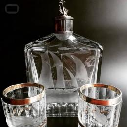 Штоф и 2 стакана Парусник (хрусталь, серебро)