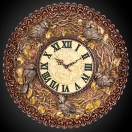 Часы настенные Птички (дерево, янтарь, камни)
