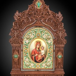 Икона Богородицы Скоропослушница (дерево, камни)