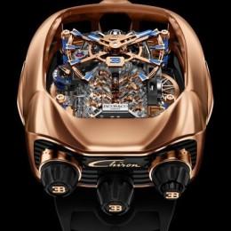 Jacob & Co. представил 4 новых модели часов Bugatti Chiron Tourbillon с крошечным двигателем на циферблате