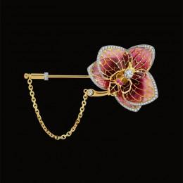Брошь Орхидея (золото, сапфиры, эмали)