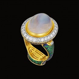 Кольцо «Восточная ночь» (лунный камень, бриллианты, сапфиры)