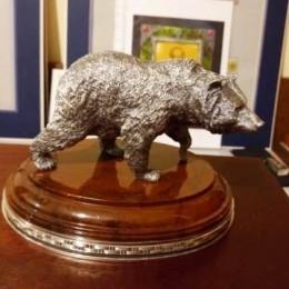 Спокойный медведь (серебро, L=16 см)
