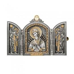 Складень из серебра «Семистрельная икона Божьей Матери»