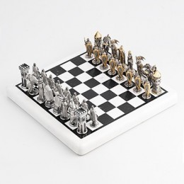 Шахматы Невская битва 1242 год (серебро, мрамор)