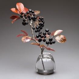 Черноплодная рябина (h=25 см., серебро, драг камни)