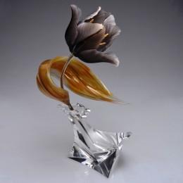 Черный тюльпан (h=24 см., золото, драг камни)