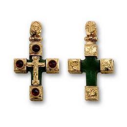 Крестик из яшмы с золотом и гранатами