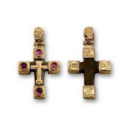 Крестик из Черного дерева с аместистами