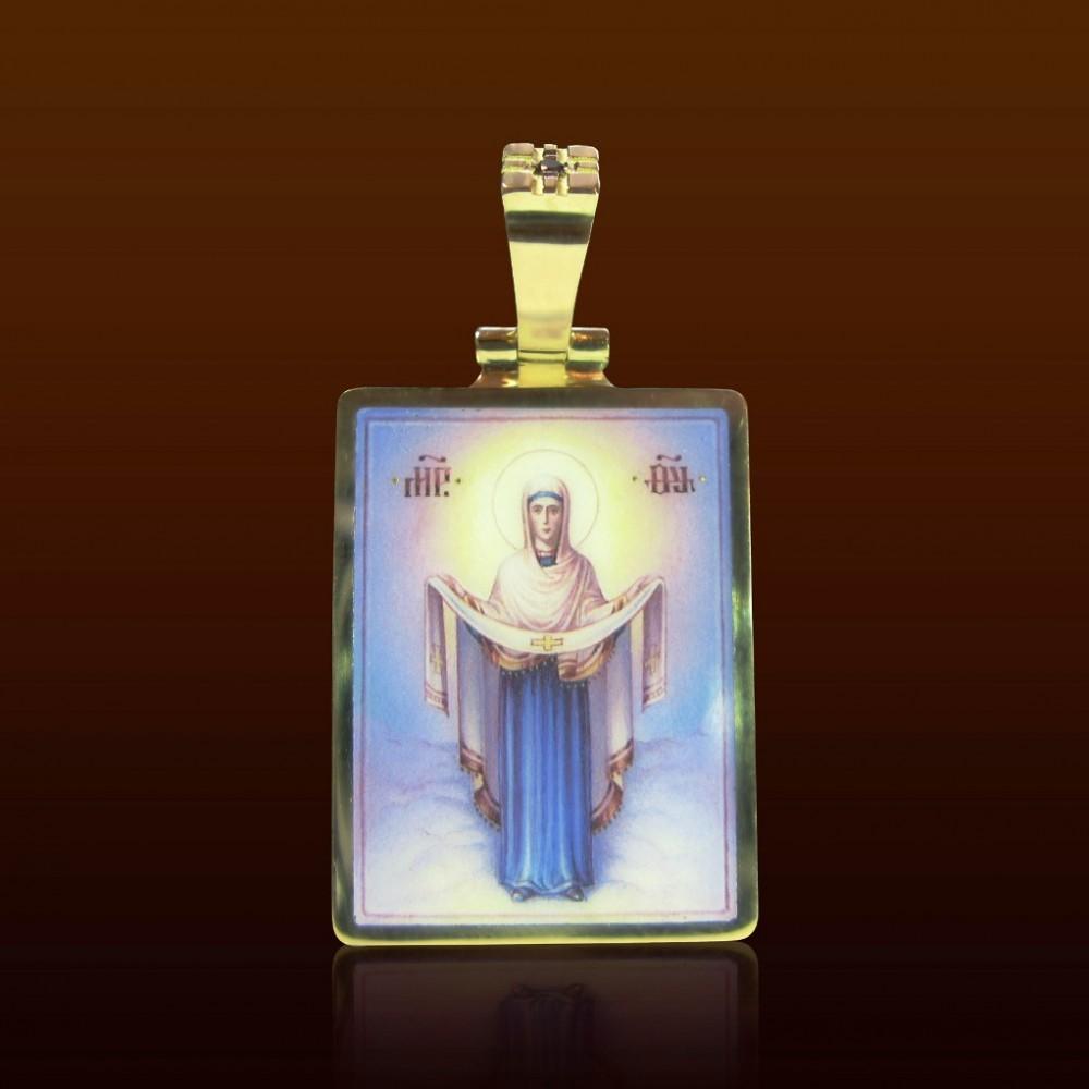 Нательная икона с эмалью и бриллиантами