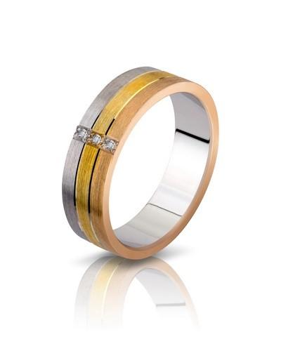 Кольцо с золотом 3-х цветов