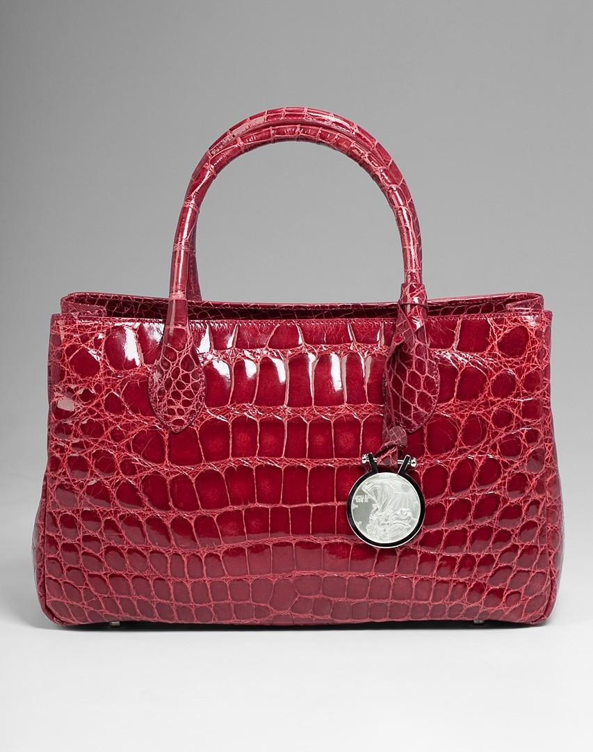 04a8f02ca4c3 Сумка из кожи крокодила Tardini бордового цвета со скидкой 35%
