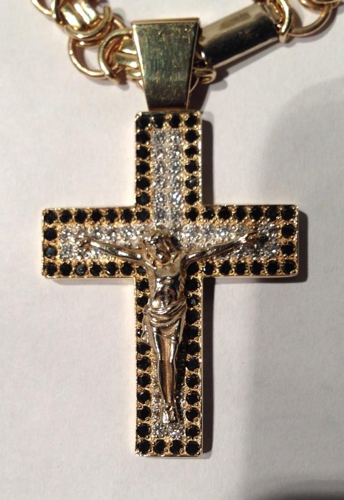 Крест с бриллиантами и цепь