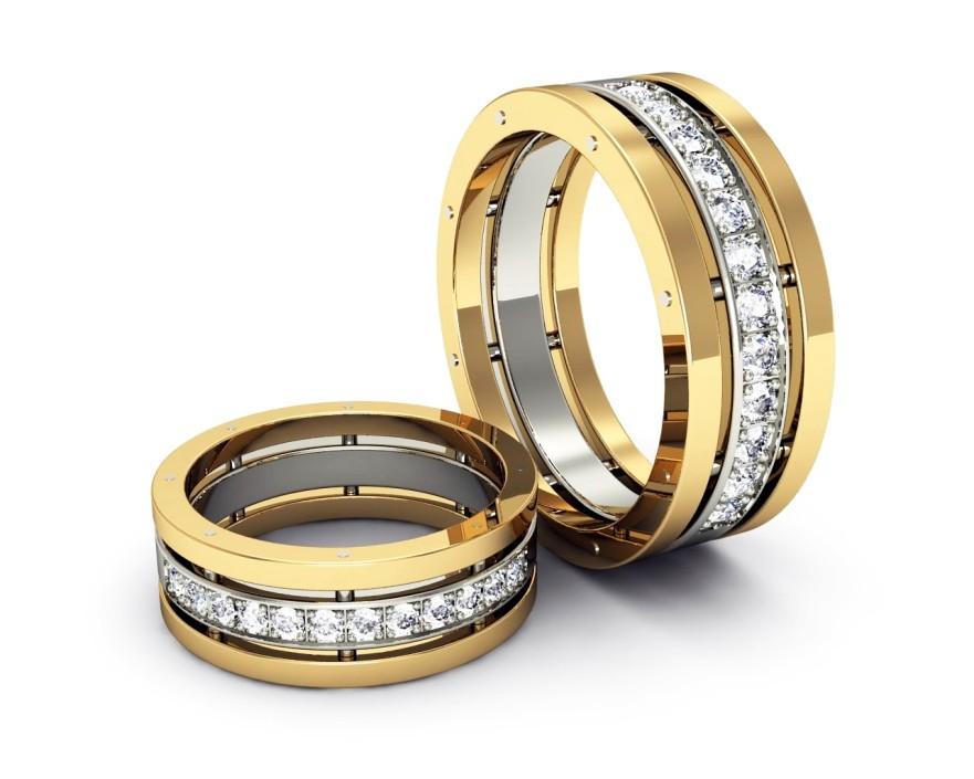 Кольцо белое и желтое золото с бриллиантами