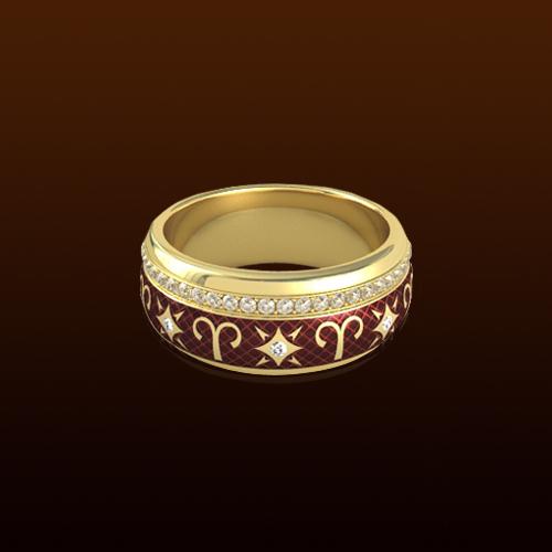 Овен- кольцо с эмалью и бриллиантами