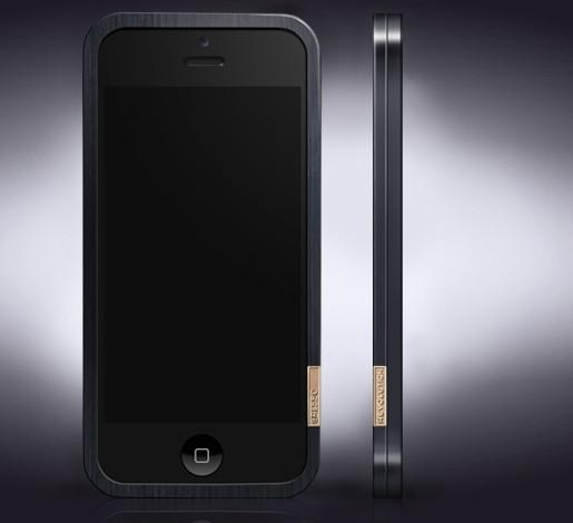 Титановый бампер с золотом iPhone 5