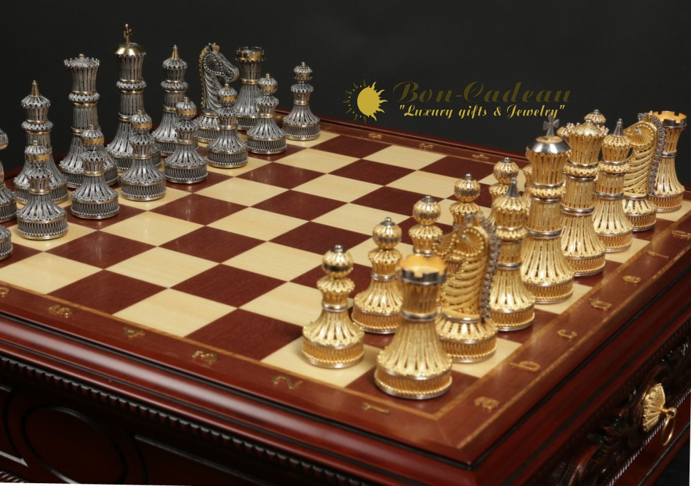 Серебряные шахматы из филиграни