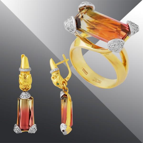 Кольцо и серьги с бриллиантами и турмалином