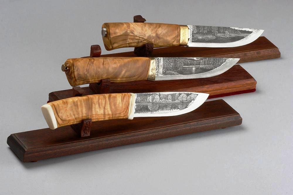 Дамасские ножи с объемным рисунком