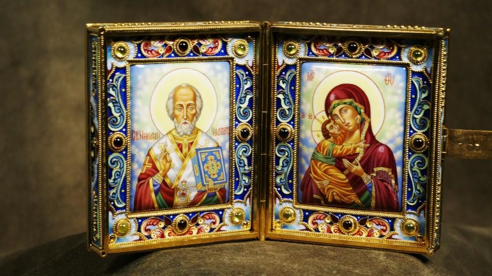 Складень походный Николай Чудотворец и Богоматерь