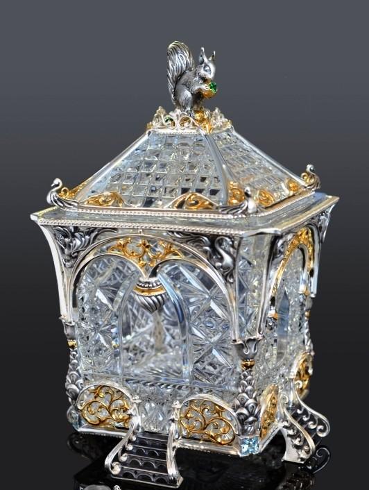 Сахарница Русские сказки (хрусталь, серебро, изумруды)