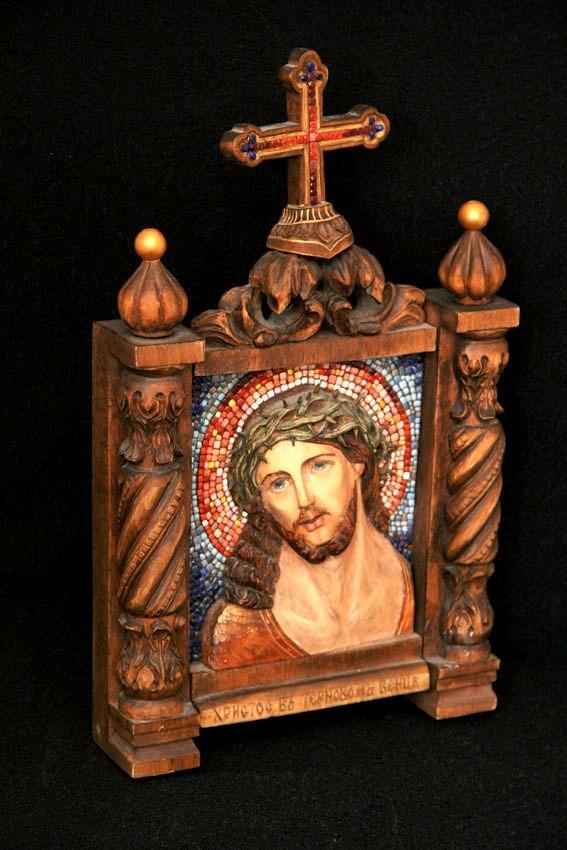 """Резная икона с мозаикой """"Иисус"""""""