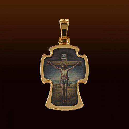 Крест с эмалью (золото 750 проба, роспись)