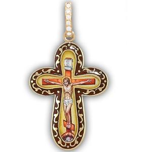 Крест с эмалью из желтого золота