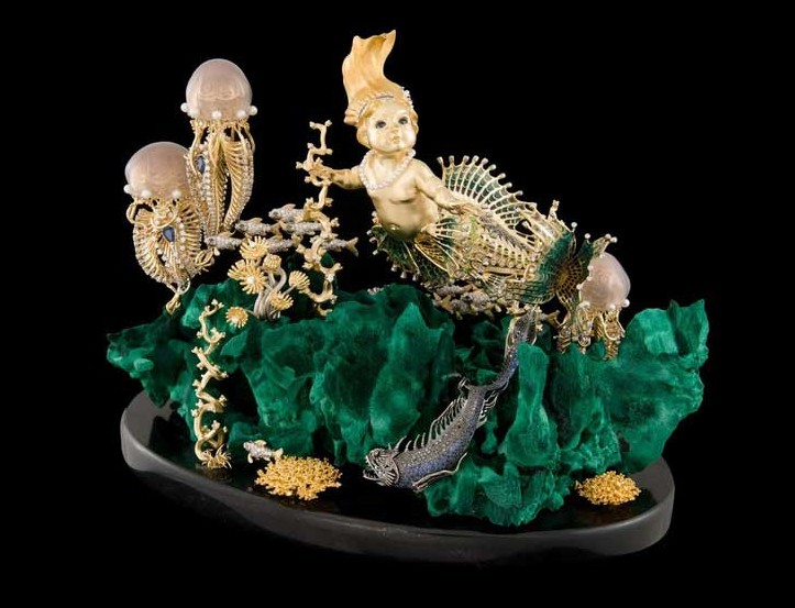 Композиция «Подводное царство» (Золото, сапфиры, малахит)