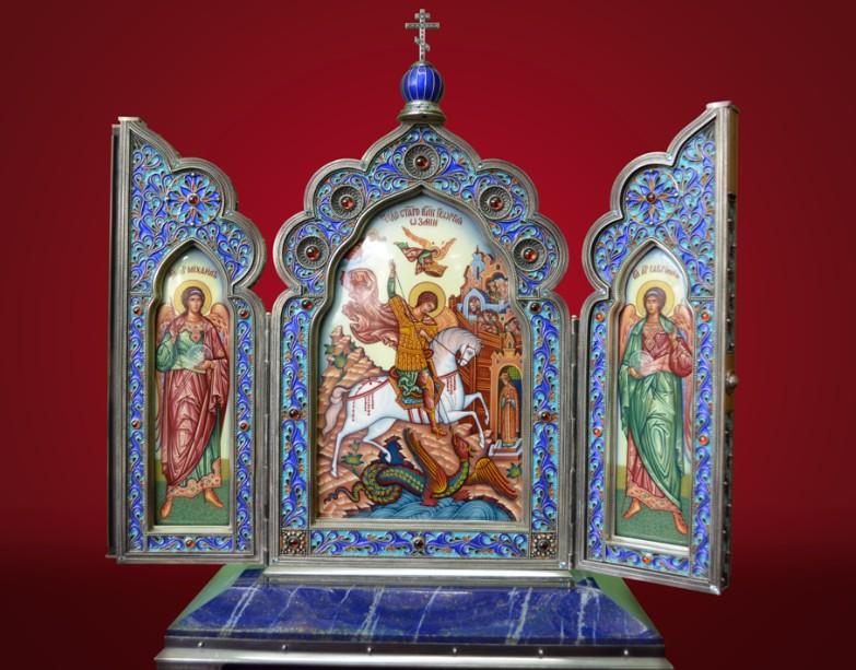 Настольный складень «Георгий Победоносец» (серебро, гранаты)