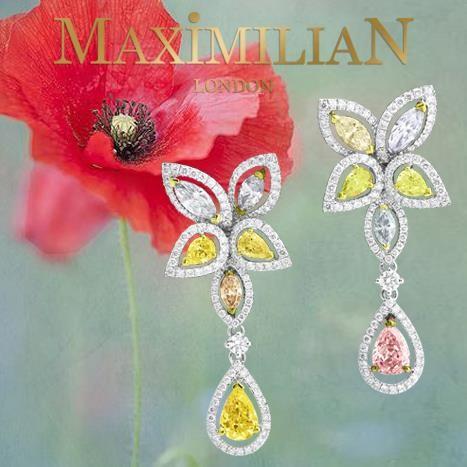 Серьги с цветными бриллиантами