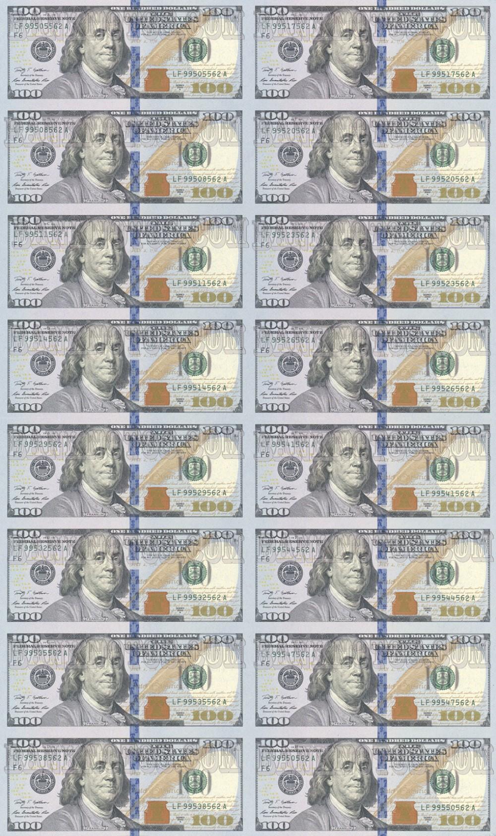 Лист 100 USD 16 штук